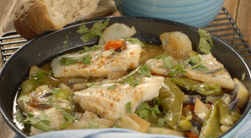 Cod fillet with summer vegetables