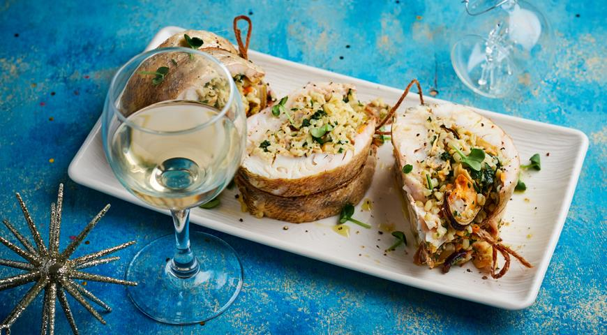 Pike perch stuffed with mussels with bulgur