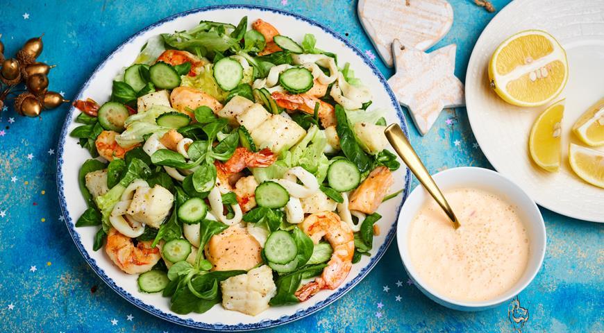 Seafood salad with fish and seafood