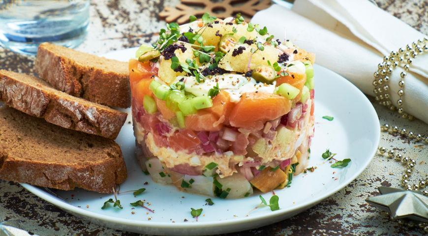 New Year's puff fish salad