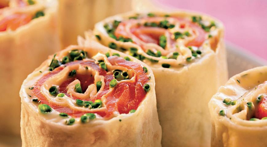 Lavash roll with red fish
