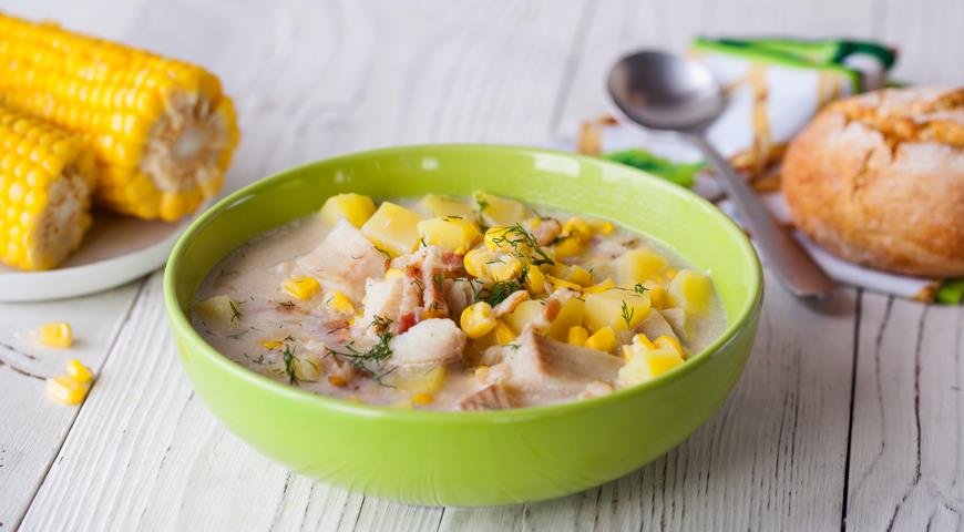 Fish soup with corn