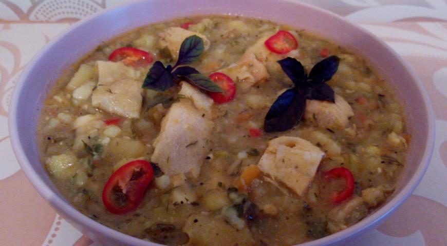 Fish stew with amber trout and vegetables