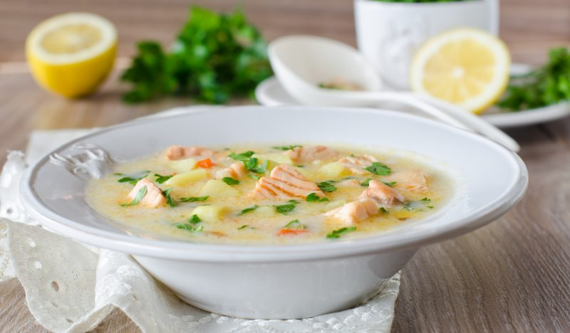 Canned fish soup with cheese