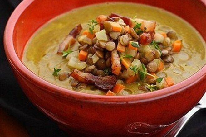 Potted Lentil Bacon Soup