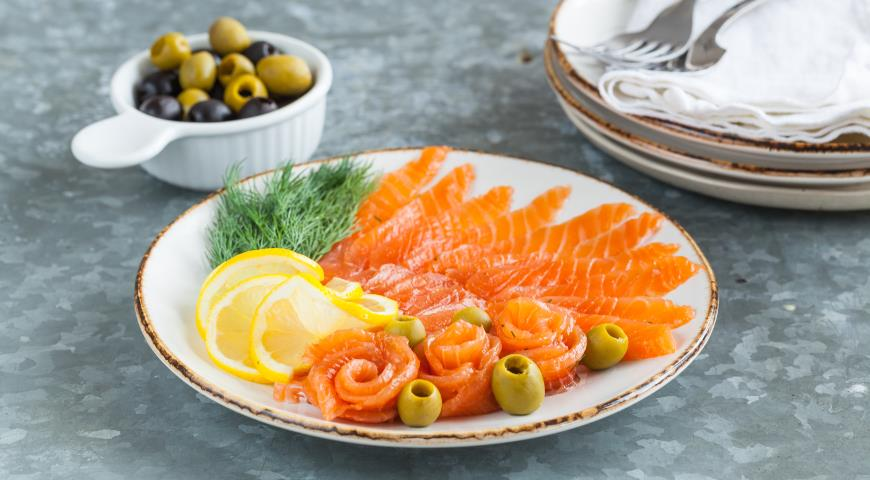 Gravlax, or lightly salted salmon
