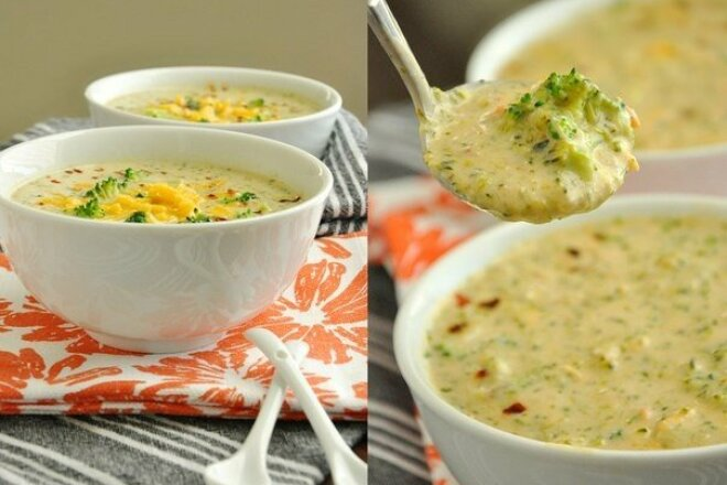 Creamy cheese soup with broccoli and spices