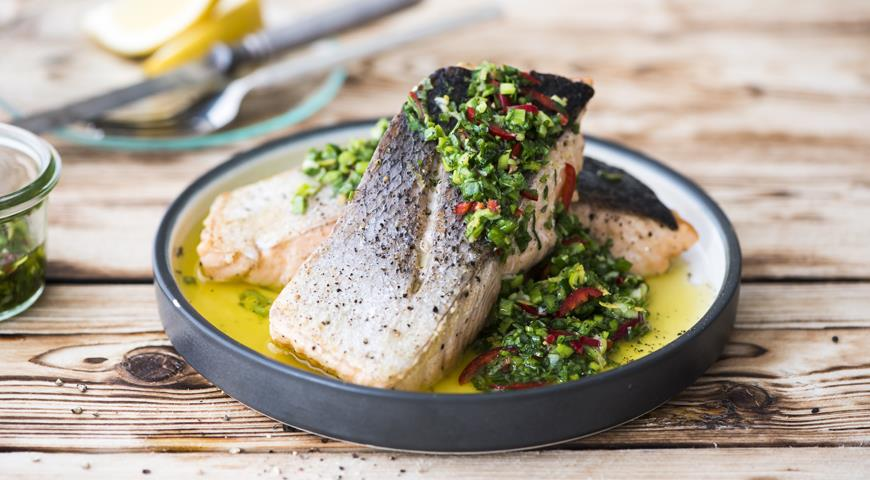Fish with green onion salsa