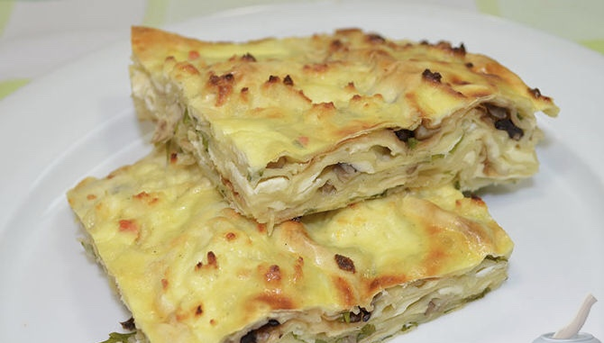 Lavash casserole with cheese and mushrooms