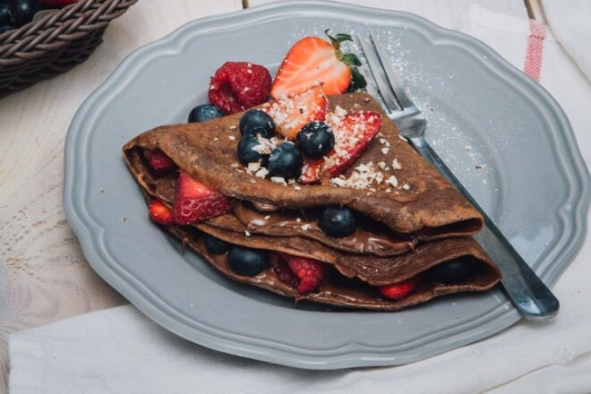 Chocolate Crepes With Nutella And Berries