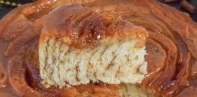 Spiral cake with caramel