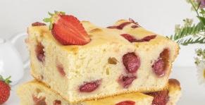 Kefir pie with strawberries