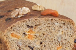 Sourdough wheat-rye bread with nuts and dried fruits