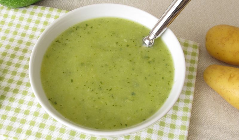 Turkish zucchini and potato puree soup with noodles