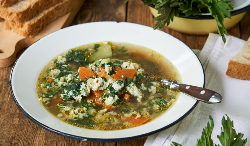 Nettle cabbage soup with egg