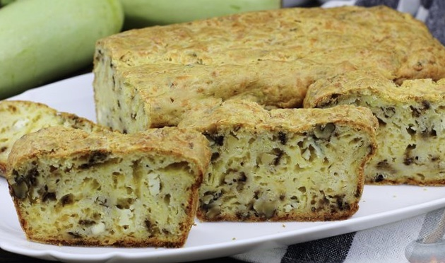 Zucchini cheese snack cake with nuts