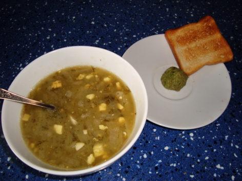 Sorrel soup and stalk pesto