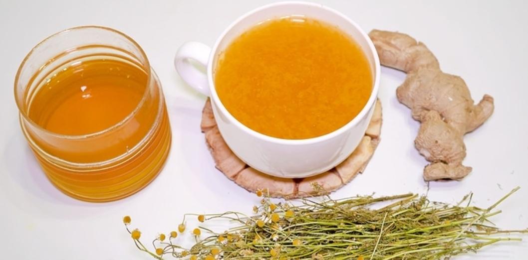 Ginger tea with lemon and chamomile