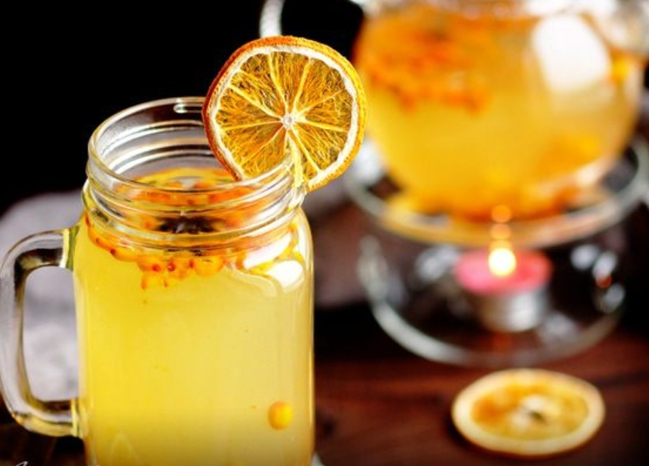 Spicy tea with sea buckthorn, ginger and spices