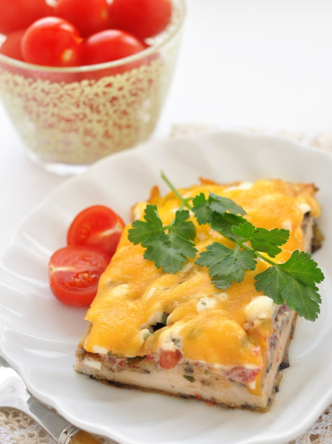 Chicken breast baked with eggplant and tomatoes