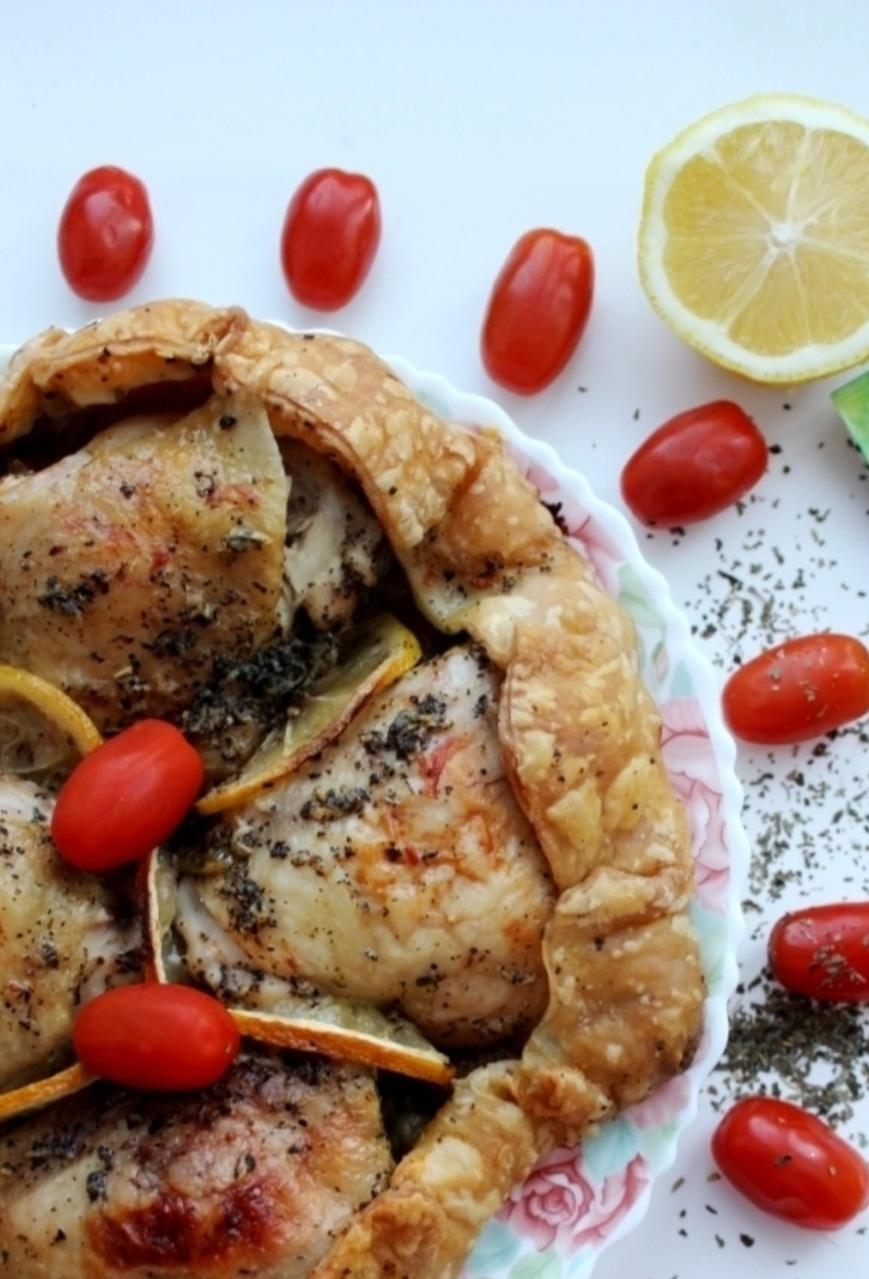 Chicken baked in an edible plate