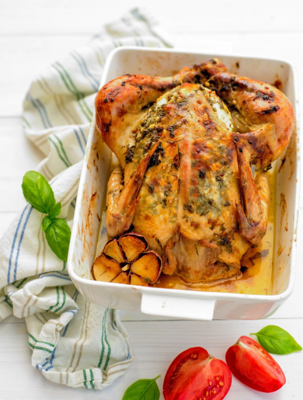 Chicken baked with aromatic butter and garlic
