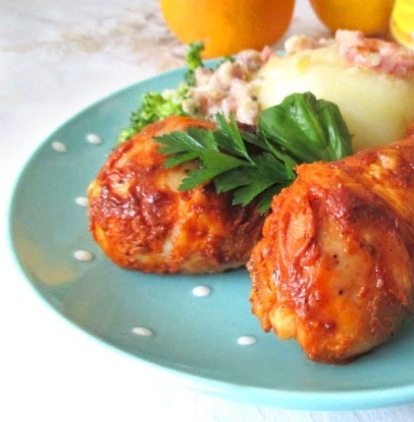 Marinated and baked chicken