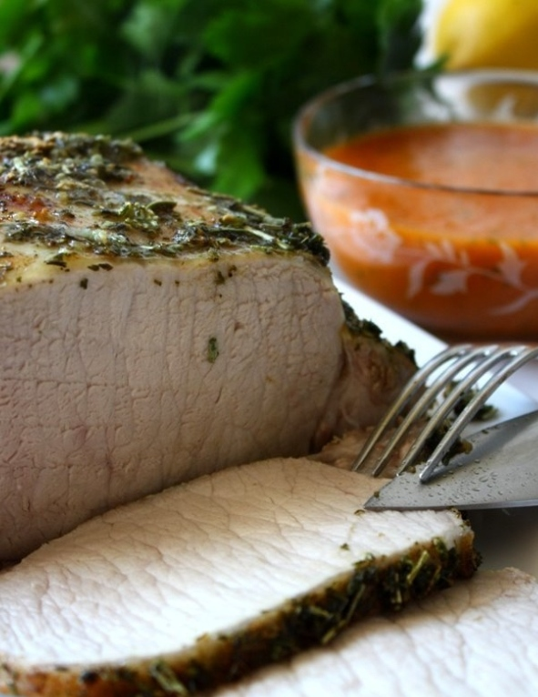 Oven-baked pork loin with red sauce