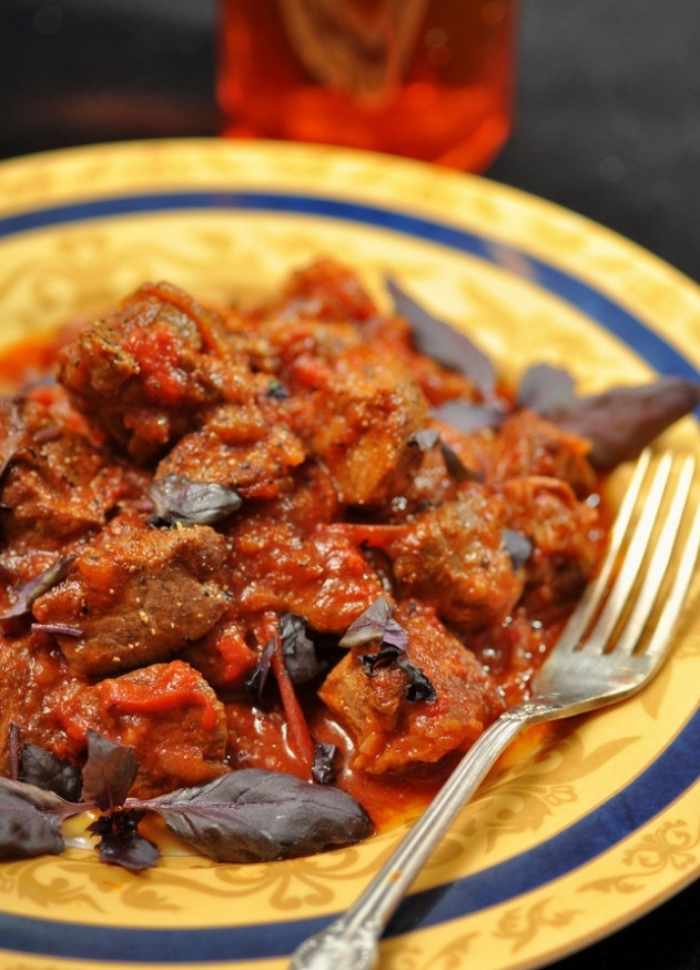 Lamb stew with bell pepper and tomatoes