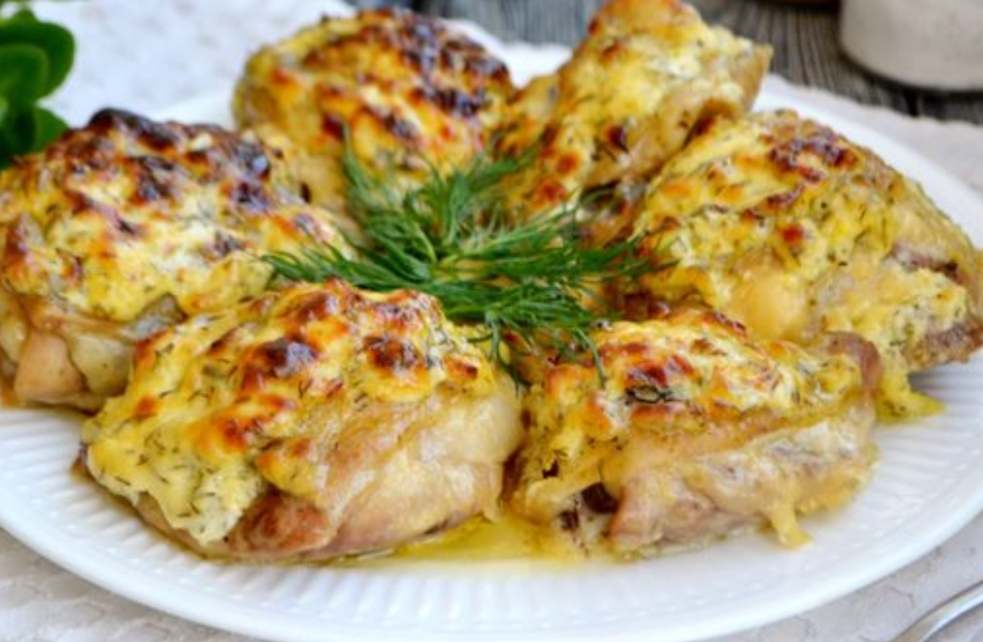 Chicken thighs baked with cheese