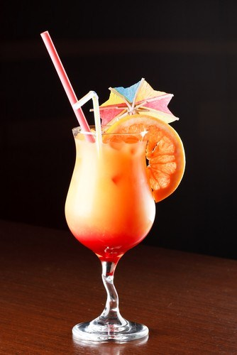 Champagne and red orange cocktail