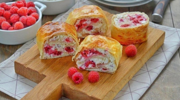 Lavash Roll with Cottage Cheese and Raspberries