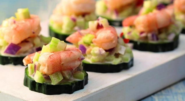 Shrimp Salad on Cucumber Slices