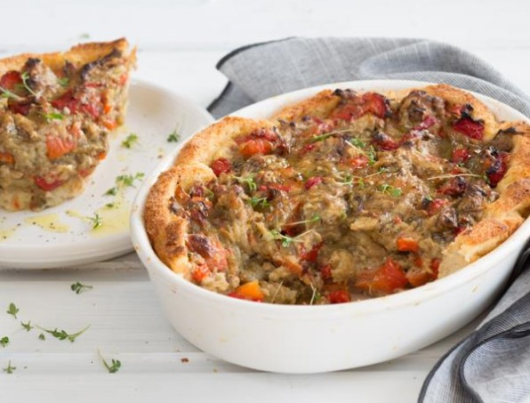 Open Charlotte with Baked Vegetables and Parmesan