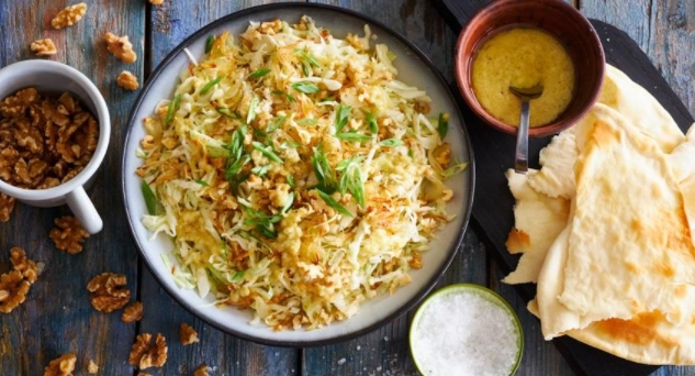 Young Cabbage Salad with Nuts and Three Types of Onions