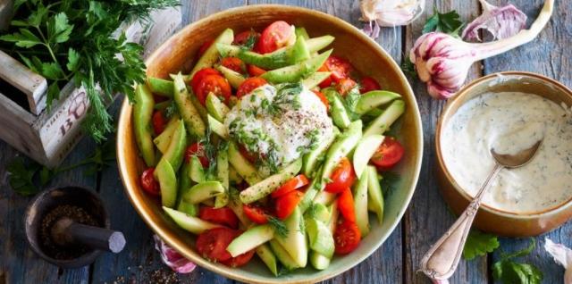 Zucchini Salad with Garlic Sour Cream