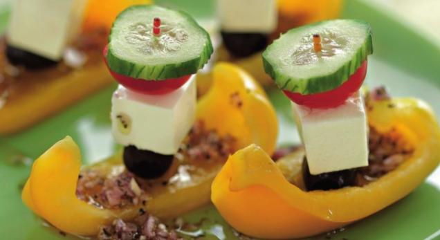 Greek Salad on a Skewer in a Pepper Boat