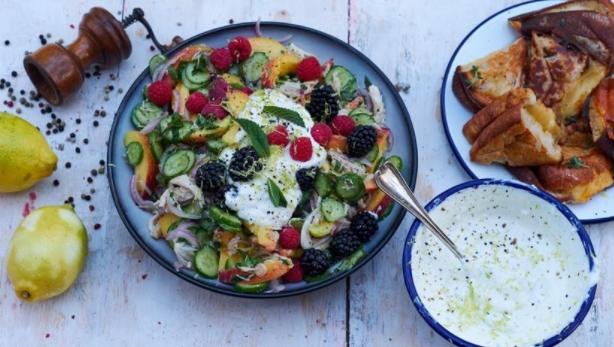 Salad with Chicken, Peaches, Raspberries, Blackberries