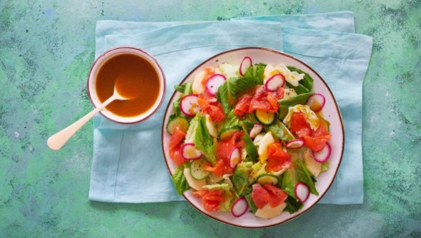 Salmon Salad with Sea Buckthorn Dressing