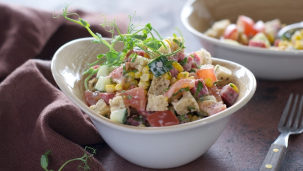 Salad with Croutons, Sausage and Corn