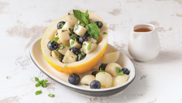 Melon Salad with Blueberries with Mint-Basil Dressing