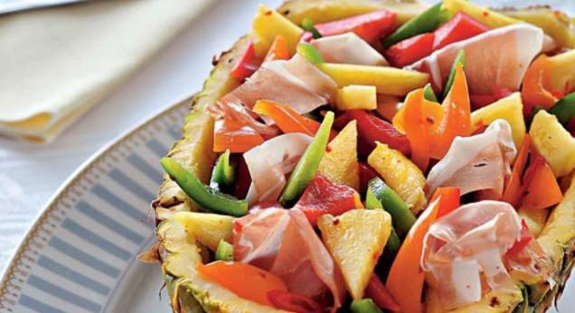 Pepper Salad in Pineapple
