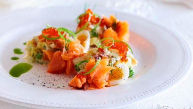 Russian Salad with Smoked Salmon and Spicy Dressing