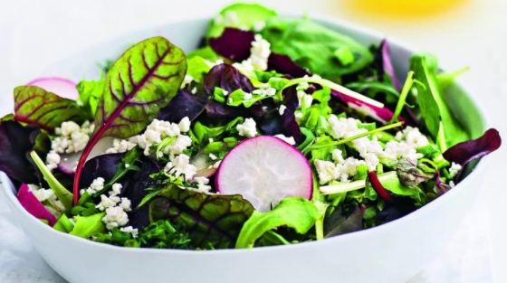 Salad with Radishes and Crumbly Curd