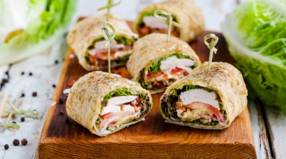 Rolls with Caesar Salad