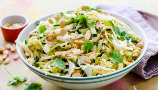 Young Cabbage Salad with Cucumbers