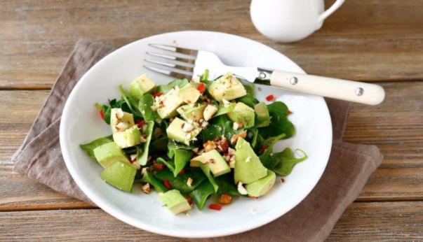 Salad with Feta Cheese and Avocado