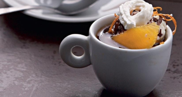 Coffee with Orange-Chocolate Ice Cream and Rum