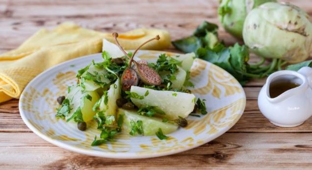 Warm Kohlrabi Salad with Capers and Cilantro