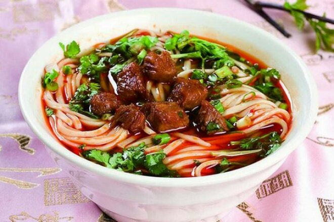 Lagman with beef and homemade noodles